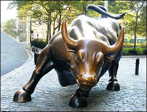 Wall Street Bull Statue in Lower Manhattan