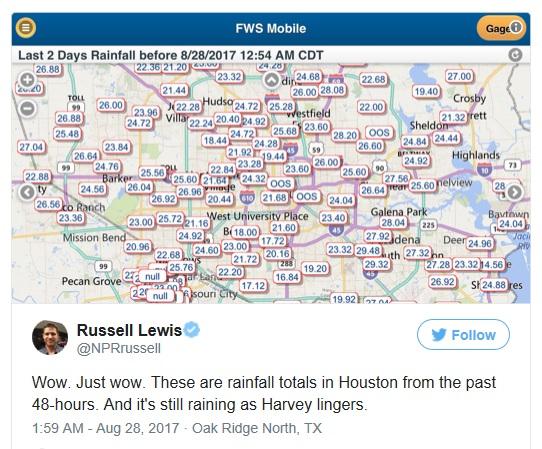 Houston Rain Totals Past 48 Hours