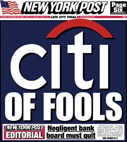 Front Cover of the New York Post, November 25, 2008