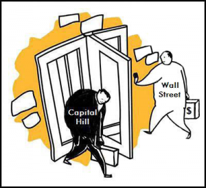 Washington and Wall Street's Revolving Door Illustration