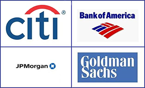 Logos of Wall Street Banks