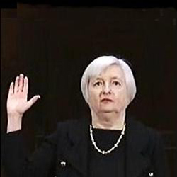 Janet Yellen, Chair of the Federal Reserve, Taking the Oath at Her Senate Confirmation Hearing