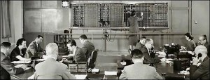 New York Federal Reserve Bank Trading Floor Before Computer Screens