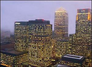 (Left) JPMorgan's European Headquarters at 25 Bank Street, London Where Technology Executive Gabriel Magee Died on January 27 or January 28, 2014