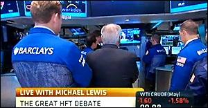 Traders on Floor of NYSE Stop Trading to Listen to High Frequency Trading Debate on CNBC Following Michael Lewis' Charges on 60 Minutes That the Market Is Rigged