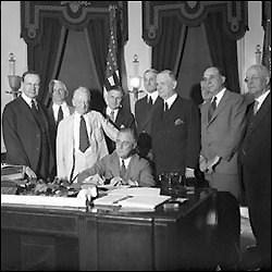 President Franklin Delano Roosevelt Signing the Glass-Steagall Act on June 16, 1933