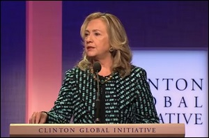 Hillary Clinton Speaking at the Clinton Global Initiative, a Program Funded by the Bill, Hillary and Chelsea Clinton Foundation