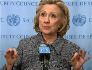 Hillary Clinton at Press Conference on Status of Her Emails (2015 Photo)