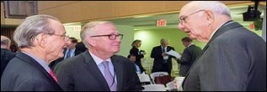 Paul Volcker (right) Hobnobbing at a Group of 30 Event