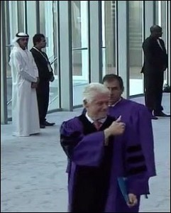 Bill Clinton Gives the Thumbs Up at the NYU Abu Dhabi Commencement on May 25, 2014