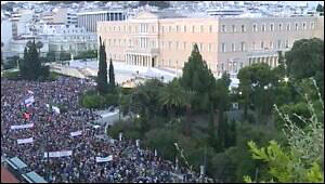Tens of Thousands Protest in Front of the Greek Parliament Against Austerity Plan for Greece, Evening of June 29, 2015