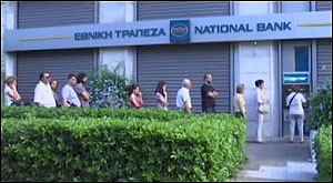 Greeks Line Up to Receive Their Daily Rations of Cash from ATM Machine