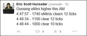 Eric Hunsader of Nanex Tweets the Early A.M. Trades in Stock Futures