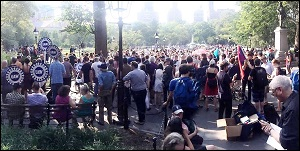Faculty, Students and Community Groups Protest NYU Management  at a Rally in Washington Square, September 1, 2015