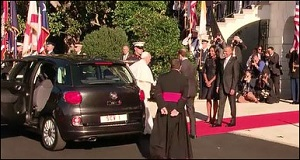 Pope Francis, Who Advocates Against Materialism, Arrives at the White House on September 23, 2015 in a Humble Little Fiat