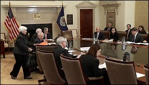 fed board meeting Definition of federal reserve board: the 7-member board of governors that oversees federal reserve banks, establishes monetary policy (interest rates.