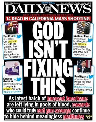 New York Daily News Front Cover, December 3, 2015