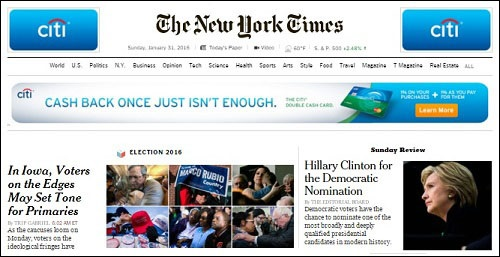 The New York Times Endorses Hillary Clinton with a Banner Ad from Citigrorup
