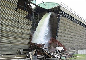 A Cooling Tower Collapses in 2007 at the Vermont Yankee Nuclear Power Plant in Vernon, Vermont. In 2010, Radioactive Tritium Is Found in the Soil Around the Plant.