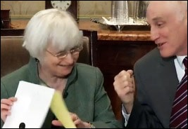 Fed Chair Janet Yellen Shares a Moment of Humor With Fed Board Member Daniel Tarullo Prior to the Open Board Meeting on March 4, 2016 Where the Fed Proposes a New Rule to Contain Counterparty Risk on Wall Street