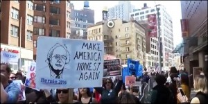 Make America Honest Again Poster Appears at the New York City March for Bernie Sanders for President, April 16, 2016