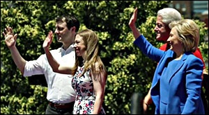 (Left to right): Marc Mezvinsky, Chelsea Clinton, Bill Clinton and Hillary Clinton