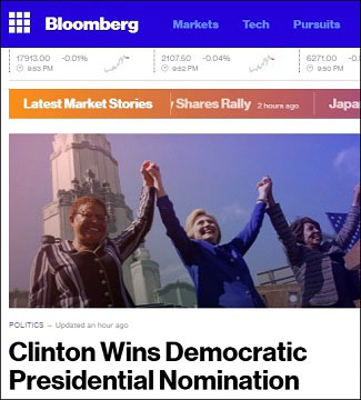 Bloomberg News Goes Bonkers With Headline Claiming Hillary Clinton Has Won the Presidential Nomination