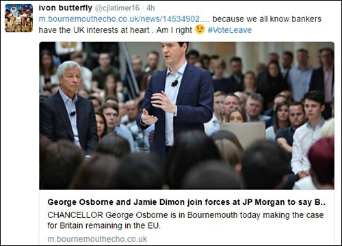 JPMorgan CEO Jamie Dimon (left) Appears With the U.K. Chancellor of the Exchequer George Osborne to Frighten Workers Over Job Losses If They Vote in Favor of Brexit