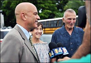 Tim Canova With His Beaming Parents at his Local Precinct on Primary Day, August 30, 2016