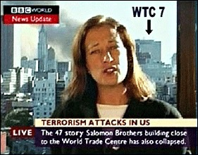 BBC correspondent Jane Standley Reported the Destruction of WTC 7 Before It Collapsed – Even Though the Building Could Be Seen Behind Her.(Photo Courtesy of Architects and Engineers for 9/11 Truth.)
