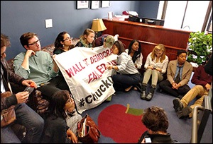 Protesters Stage a Sit In at Senator Chuck Schumer's Office Over Wall Street Democrats Selling Out