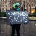 Protester Wears a Swamp Creature Costume Outside Goldman Sachs Headquarters, January 17, 2017