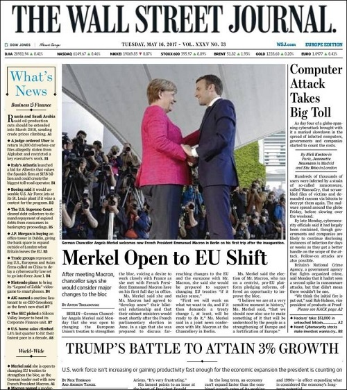Front Cover of Wall Street Journal, Europe Edition, Tuesday, May 16, 2017