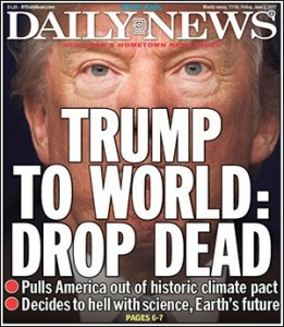 New York Daily New Front Cover on Trump's Removal of U.S. from Paris Climate Accord