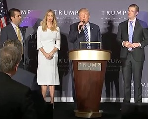 Presidential Candidate Donald Trump Promotes the Opening of His New Hotel in Washington, D.C.  with Family Less than Two Weeks Before the 2016 Presidential Election