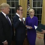 Vice President Mike Pence Swears In Steven Mnuchin as U.S. Treasury Secretary on February 13, 2017. President Donald Trump and Mnuchin's Fiancée, Louise Linton, Look On.  Mnuchin Wiill Have to Deal This Year With a Likely Doubling of U.S. Treasury Net Issuance.