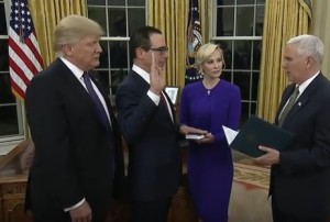 Vice President Mike Pence Swears In Steven Mnuchin as U.S. Treasury Secretary on February 13, 2017. President Donald Trump and Mnuchin's Fiancée, Louise Linton, Look On.