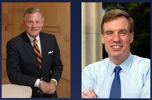 Richard Burr (left), Chair of the Senate Intelligence Committee; Mark Warner (right), Vice Chair
