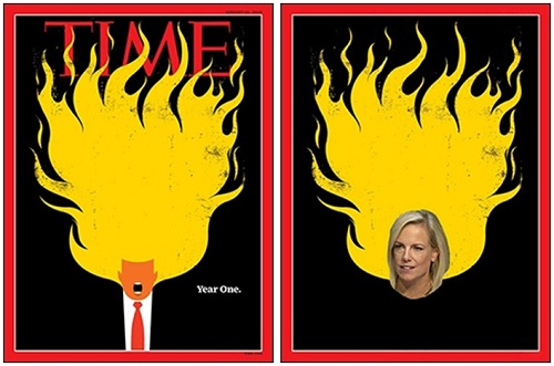 "Time Magazine Memoralizes One Year of the Trump Presidency (left).  Kirstjen Nielsen, Secretary of Homeland Security  Appears Under Oath Before Senate Judiciary Committee and Has Amnesia on Trump's ""Sh**hole"" Characterization of African Countries."