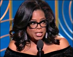 Oprah Winfrey Delivers Speech at the Golden Globe Awards, Sunday, January 7, 2018