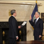 Jerome Powell Is Sworn In As Federal Reserve Chairman on February 5, 2018 by Fed Vice Chairman Randal Quarles.