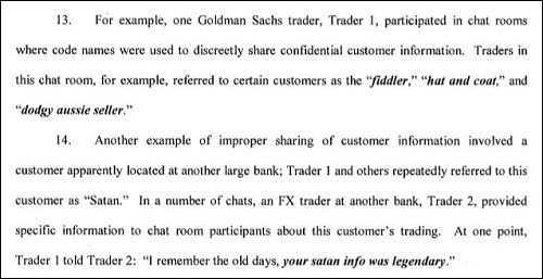 On May 1, 2018 the New York State Department of Financial Services provided the above examples of how Goldman Sachs traders were manipulating prices in the foreign currency markets.