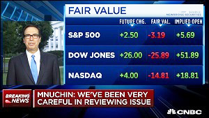 U.S. Treasury Secretary Steve Mnuchin on CNBC before the Market Opened on June 27, 2018