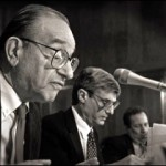 (Left to Right) Former Fed Chair Alan Greenspan, Treasury Secretary Robert Rubin and then Deputy Secretary of the Treasury Larry Summers