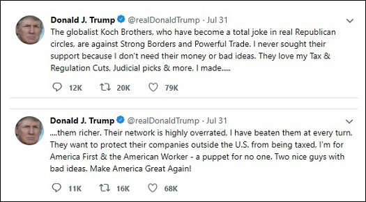 Trump Rails Against Koch Brothers in Tweet, July 31, 2018