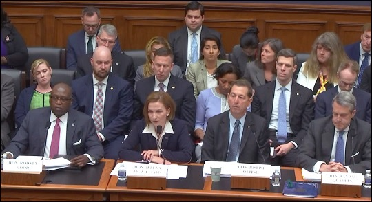 House Financial Services Committee Hearing, May 16, 2019. Left to Right: Rodney Hood, Chair of the National Credit Union Administration; Jelena McWilliams, Chair of the Federal Deposit Insurance Corporation; Joseph Otting, Head of the Office of the Comptroller of the Currency; Randal Quarles, Vice Chairman for Supervision at the Federal Reserve.