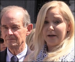 Attorney David Boies with Virginia Roberts Giuffre at Jeffrey Epstein Court Hearing in New York, August 27, 2019