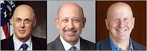 (Left to right) Three Most Recent CEOs of Goldman Sachs: Henry (Hank) Paulson; Lloyd Blankfein; David Solomon, Current CEO.