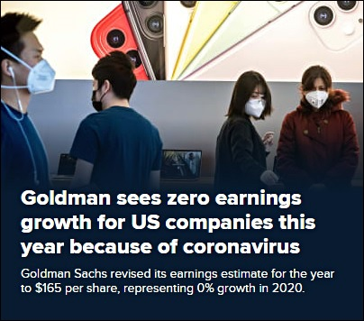 CNBC Headline Re Goldman Sachs Seeing Zero Percent Earnings Growth This Year, February 27, 2020