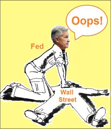 Jerome Powell & Wall Street Cartoon